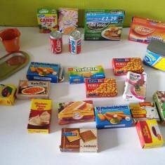 Lot mare (23buc) miniaturi ambalaje cutii alimente pentru casa papusii, colectie