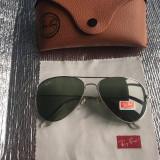 Ochelari de soare Ray Ban aviator lentila Verde inchis rama argintie, Unisex