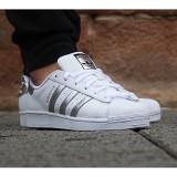 Adidasi ADIDAS Superstar alb cu argintiu - Adidasi barbati, Marime: 36, 37, 38, 39, 40, Piele sintetica