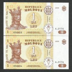 MOLDOVA 1 LEU 2006 UNC [000] P-8g, Serie consecutiva, Pret / 2buc necirculate - bancnota europa