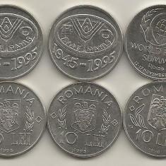 ROMANIA LOT / SET 10 LEI 1995 si 1996 - 3 Monede Comemorative FAO+ROMA - UNC - Moneda Romania, Fier