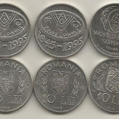 ROMANIA LOT / SET 10 LEI 1995 si 1996 - 3 Monede Comemorative FAO+ROMA - UNC - Moneda Romania, Fier