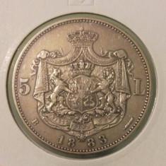 ROMANIA - 5 lei 1883 - ARGINT - piesa de colectie - Moneda Romania
