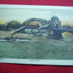 Ilustrata Dusseldorf - Nave pe Rin si Pod, inc.sec.XX, color, Necirculata, Printata