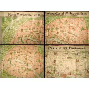 Harta veche 1900 Parisul si imprejurimile. Parisul monumental si metropolitan.