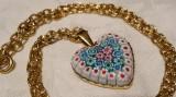 Medalion argint aurit INIMIOARA cu Sticla de Murano Millefiori pe Lant argint