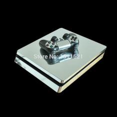Skin / Sticker Silver Playstation 4 PS4 SLIM + 2 Skin controller, Huse si skin-uri