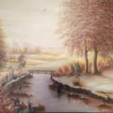 "Tablou pictura in ulei, vechime 30 de ani: ""Toamna"", pictor Scortanu, din 1987 - Pictor roman, Peisaje, Realism"