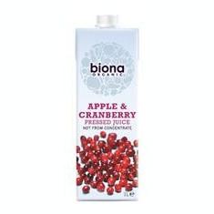 Suc de Mere Nefiltrat cu Merisoare Bio Biona 1L Cod: 5032722308459