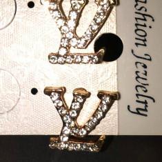 LV_CRYSTALS_cercei aurii cristale -cu surub - Cercei perla