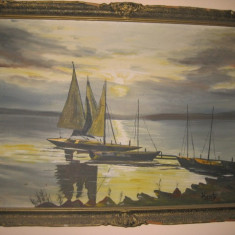 Tablou marin semnat Kraty ulei/ panza. Marimi tablou fara rama 70/50 cm., Marine, Realism