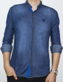 Camasa de blugi - camasa slim fit camasa blugi camasa barbat cod 105, L, M, S, XL, Maneca lunga, Din imagine