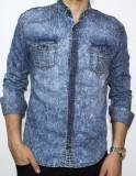 Camasa de blugi - camasa slim fit camasa blugi camasa barbat cod 107, S, XL, Maneca lunga, Din imagine