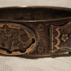 Bratara argint Franta 1900 art nouveau SUPERBA gravata manual Delicata Lata RARA
