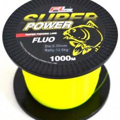 Fir Super Power Fluo FL Nylon ( guta ) Grosime 0, 30mm Rola 1000 Metri Galben - Fir Pescuit