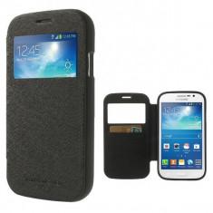 Husa Samsung Galaxy Grand Neo i9060 i9080 S-VIEW Black - Husa Telefon Samsung, Negru, Piele Ecologica, Cu clapeta, Toc
