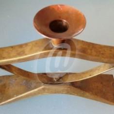 Suport 3 lumanari dim cupru, vintage, 28 cm - Arta din Metal