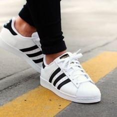 Adidasi Adidas Superstar Dama Barbati UNISEX - Adidasi dama, Culoare: Alb, Marime: 36, 37, 38, 39, 40, 41, 42, 43, 44, Piele sintetica