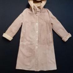 Palton blana naturala, cu gluga detasabila; vezi dimensiuni exacte - Palton dama, Marime: Alta, Culoare: Din imagine
