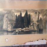 "Tablou vechi imens - Pictura "" Naufragiu "" - Primul razboi mondial - 1914 - Tablou autor neidentificat, Scene gen, Ulei, Altul"