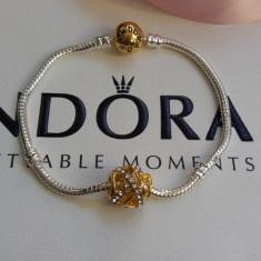Bratara Pandora placata cu argint 925 aur 14k + charm gold cadou - Bratara argint pandora, Femei