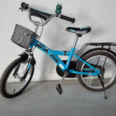 Bicicleta copii DHS 16 inch albastra fete baieti, 12 inch, Numar viteze: 1