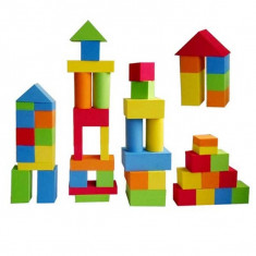 Jucarie set cuburi colorate din burete non toxic 55 piese