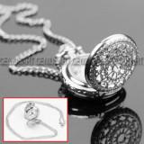 Ceas de buzunar cu lant de dama Quartz elegant argintiu