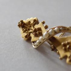 Brosa Aur 15Karate Epoca Victoriana (foarte rara!) cu perle naturale