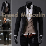 Sacou Blazer Barbati Casual Elegant Cambrat Slim Negru 2 Nasturi, Bumbac