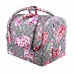 GEANTA COSMETICA Geanta make-up cu sertare motiv floral - Geanta cosmetice