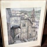 Tablou vechi - Cetate Medievala - Semnat Giare ? - Tablou autor neidentificat, Scene gen, Pastel, Altul