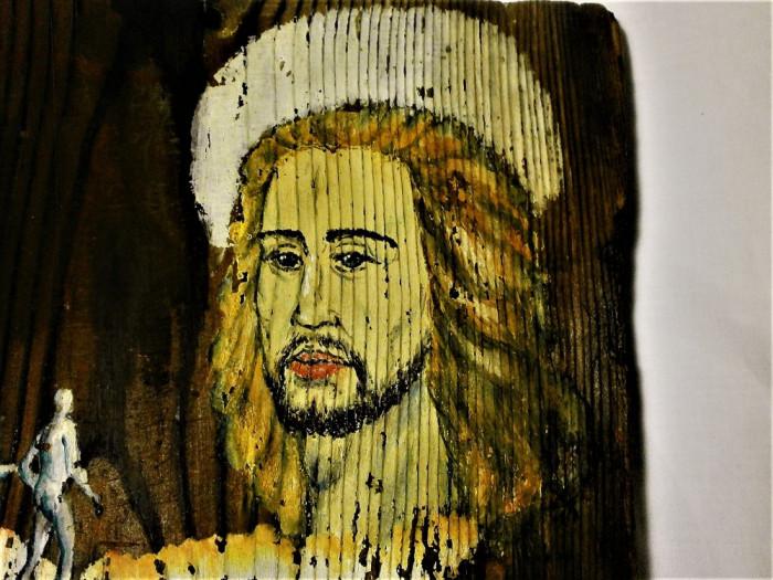 Unicat! Tablou pictura ulei lemn, Iisus Nihil Sine Deo, colectie cadou