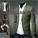 Sacou Blazer Barbati Casual Elegant Cambrat Slim Verde Army Masliniu 2 Nasturi - Sacou barbati, Marime: S, M, L, XS, Bumbac