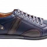 Pantofi barbati casual bleumarin din piele naturala cu siret - Model 599BL - Pantof barbat, Marime: 39, 40, 41, 42, 43, 44