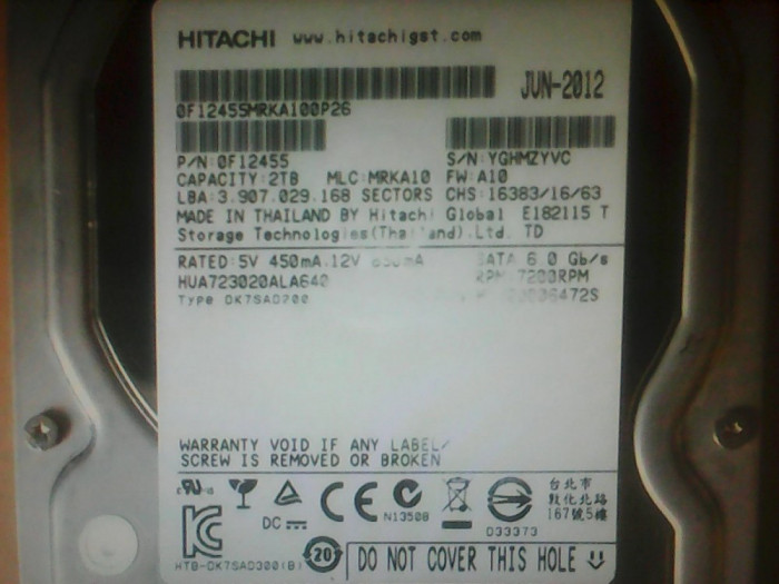 Hard-disk PC 2 TB Hitachi Sata3 64MB 7200 rpm 100% health L116
