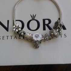 Bratara PANDORA 7 charmuri plct argint - Floare alba de cires Flori primavara - Bratara argint pandora, Femei