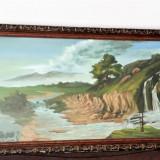 Tablou vechi - Pictura Peisaj Imens - Aproximativ 1, 7 m x 1m - 15 kg Rama masiva - Tablou autor neidentificat, Scene gen, Pastel, Altul