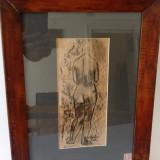 Tablou / Schita - Primul Razboi Mondial - Nud - Semnat 1918 - I Spidor ? - Tablou autor neidentificat, Scene gen, Ulei, Altul