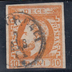ROMANIA 1872, LP 31, CAROL I CU BARBA VAL. 10 BANI STAMPILAT - Timbre Romania