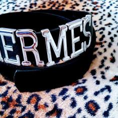 CURELE HERMES /LOGO METALIC/CALITATE SUPERIOARA - Geanta Dama Hermes, Culoare: Negru, Marime: Marime universala