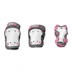 Set Protectii Roces ventilated 3 pack junior white/pink