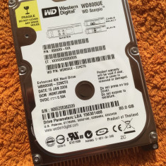 HDD laptop - Hard disc Western Digital 80GB IDE ( WD800UE ) - stare perfecta, 41-80 GB, Rotatii: 5400, 2 MB