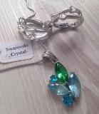 Set bijuterii dama(colier+cercei) -lantisor placat cu AUR 18K si swarovski