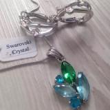 Set bijuterii (colier+cercei) -lantisor placat cu AUR 18K si swarovski