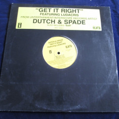 Dutch & Spade - Get It Right / War _ vinyl, 12'' _ Interscope(SUA) _ hip hop - Muzica Hip Hop Altele, VINIL