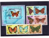 Cambodia - set stampilata fluturi 1990, Natura, Asia