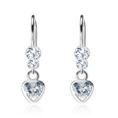 Cercei realizaţi din argint 925, cristale Swarovski transparente, inimă din zirconiu - Cercei argint