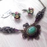 Set bijuterii DAMA- cristale SWAROVSKI (colie+ cercei)-vintage - Set bijuterii handmade si fashion