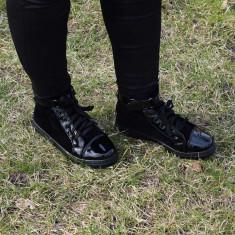 Adidasi-gheata dama negri, Culoare: Negru, Marime: 37, Piele sintetica